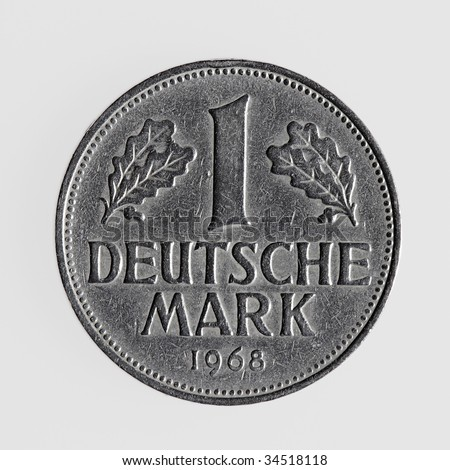 Single german coin - one deutsche mark aginst white background