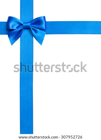single gift bow, blue satin, with cross ribbons isolated on white