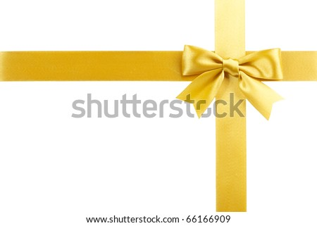 single gift bow, golden satin, with cross ribbons isolated on white - stock photo