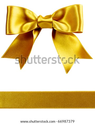 single gift bow, golden satin, with one ribbon isolated on white - stock photo