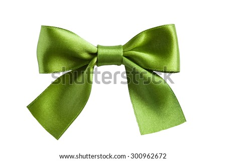 single gift bow, green satin, on white - stock photo