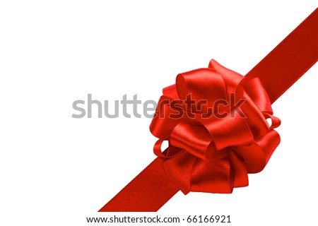 single gift bow, red satin, with one oblique ribbon isolated on white - stock photo