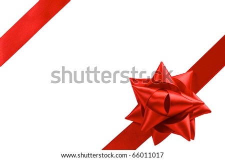 single gift bow, red satin, with two oblique ribbons isolated on white - stock photo