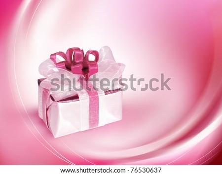 Single gift box with pink ribbon - stock photo