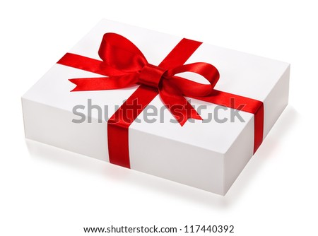 Single  gift box with red ribbon end e bow on white background. - stock photo