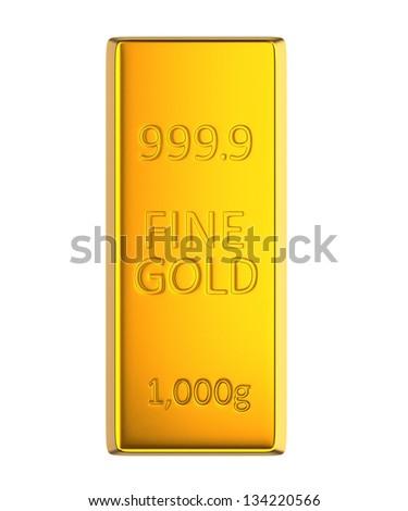 single gold bar - stock photo