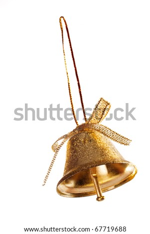 Single golden bell isolated on white background - stock photo