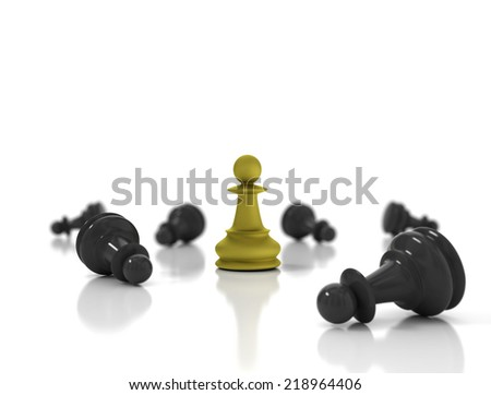 Single golden pawn surrounded by a number of fallen black chess pieces - stock photo