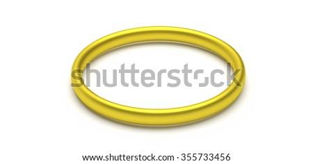 single golden ring  - rendered 3D illustration - stock photo