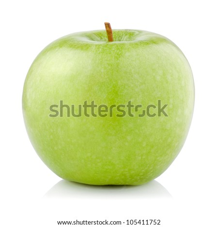 Single Green Apple isolated on a white background - stock photo