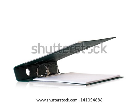 Single green file folder, isolated on white background - stock photo