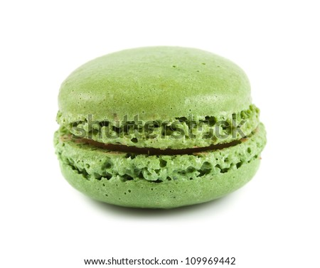 Single green macaroon isolated on white background - stock photo