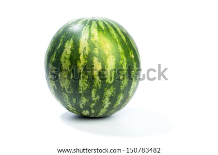 Single green water melon, isolated on white background.
