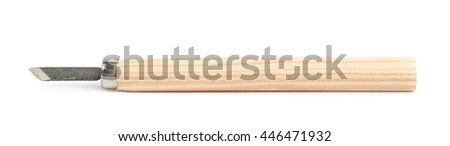 Single hand carving wood chisel tool isolated over the white background
