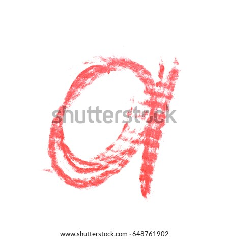 Single hand drawn with the chalk A letter isolated over the white background