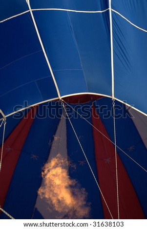 single hot air balloon being filled - stock photo