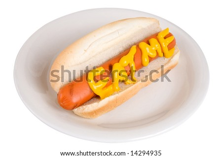 Single hot dog on a white plate with the words eat me spelled out with mustard