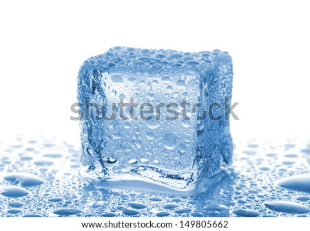 Single ice cube with water drops on white background - stock photo