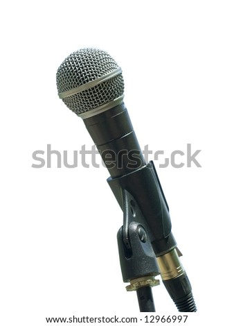 Single isolated microphone against the white background