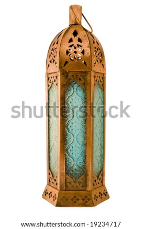 single isolated on white,with clipping path, moroccan style roughly textured copper lantern with blue patterned glass - stock photo