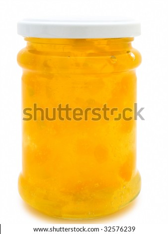 single jar with yellow jam against the white background - stock photo