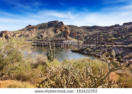 Single lane bridge over First Water Creek at Canyon Lake, near Apache Junction, Arizona - stock photo