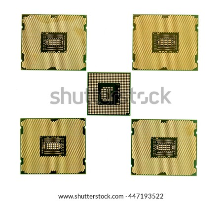 Single laptop CPU surrounded by desktop processors isolated on white background - stock photo