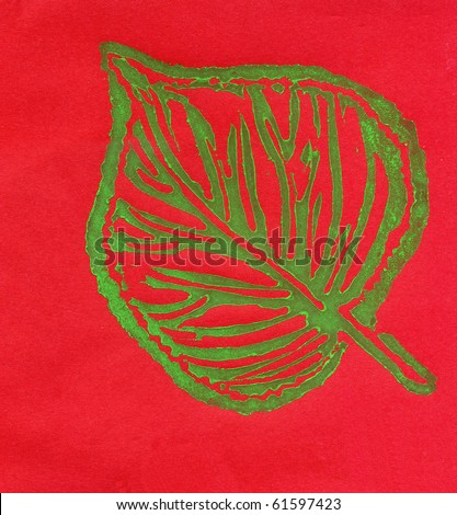 Single Leaf on Bright Red Background
