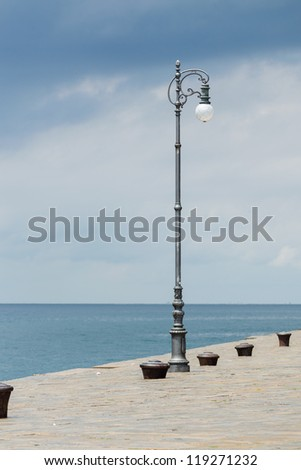 single light pole - stock photo