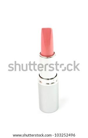 Single lipstick isolated on white - stock photo