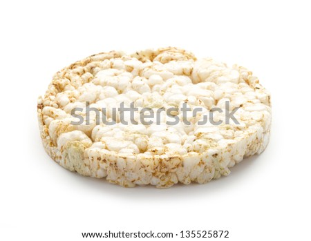 single loaf rice wafer isolated on white - stock photo