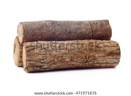 Single log. Isolated on a white.