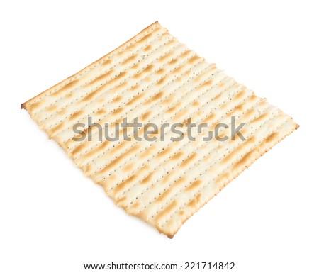 Single machine made matza flatbread piece isolated over the white background - stock photo