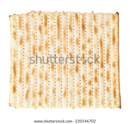 Single machine made matza flatbread piece isolated over the white background, top view above - stock photo