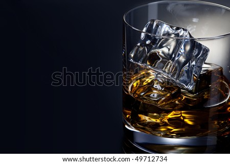 Single malt whiskey with ice - stock photo