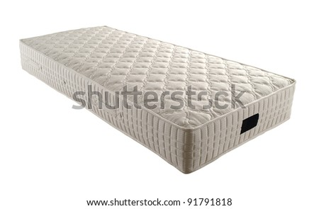 single mattress isolated on white - stock photo