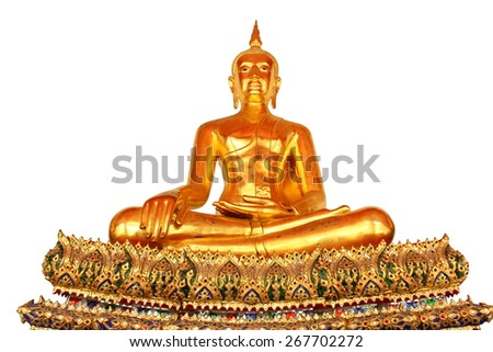 single meditation buddha statue in buddhist temple wat pho, bangkok, thailand, isolated on white background - stock photo