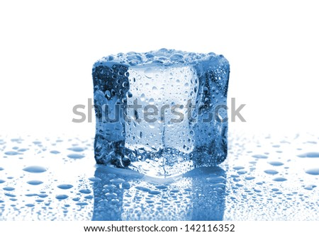 Single melted ice cube with water drops on white background