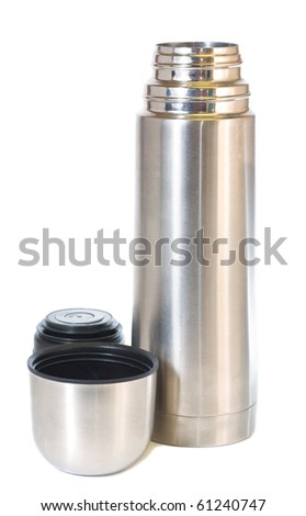 Single metallic thermos isolated on white background.