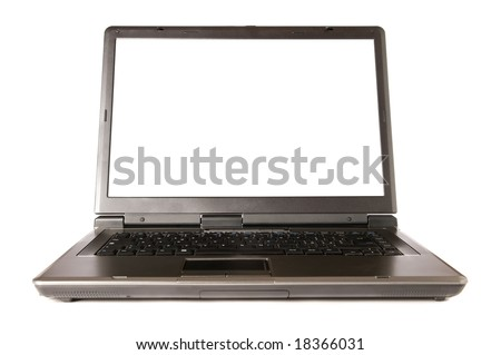 Single modern laptop with blank screen isolated on white background. Space for your text.