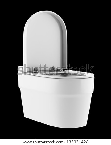 single modern toilet bowl isolated on black background