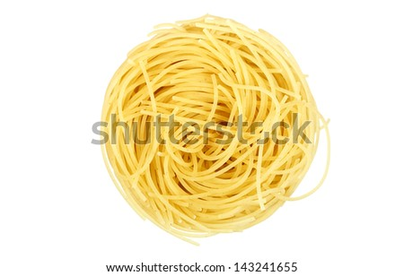 single noodle isolated on white