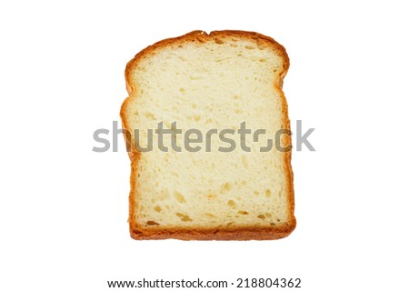 Single of Slice  white bread isolate on white background