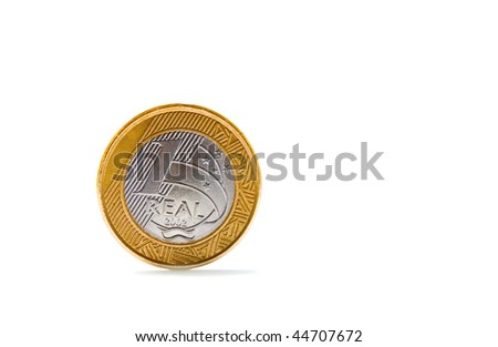 Single one Brazilian real coin isolated on white background - stock photo