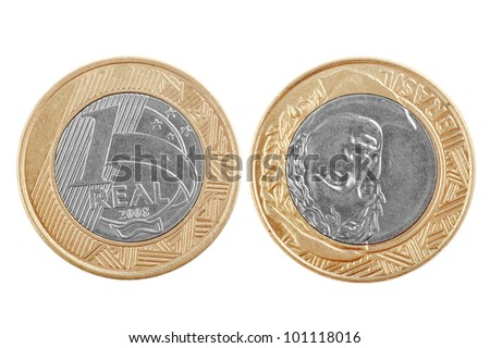 Single one Brazilian real coin isolated on white background showing the two sides of the coin, good for representing money in emerging countries. Shows the appearance of money in Brazil. - stock photo