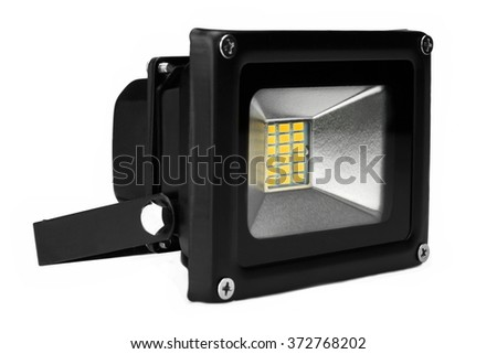 Single Outdoor 20W Waterproof RGB LED Floodlight Or Lawn Light, Or landscape Light Isolated On White Background, Close Up - stock photo