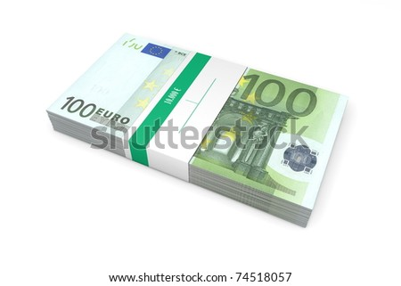 single packet of 100 Euro notes with bank wrapper - 10.000 Euros - stock photo