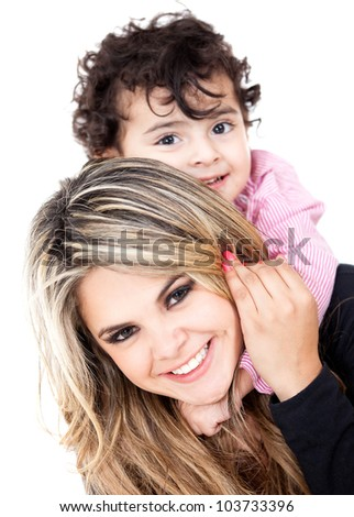 Single parent family portrait - isolated over a white background - stock photo