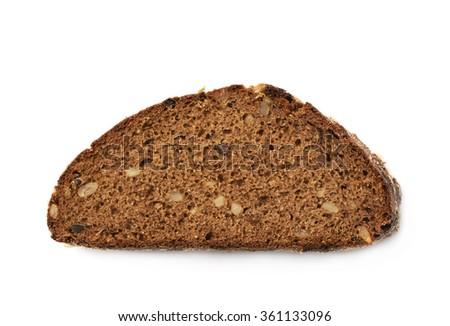 Single piece of bread isolated - stock photo