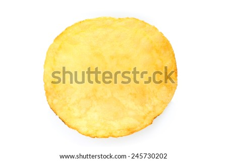 Single potato chip on white background close-up - stock photo